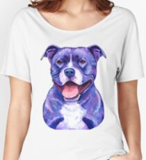 Colorful American Pitbull Terrier Dog Women's Relaxed Fit T-Shirt