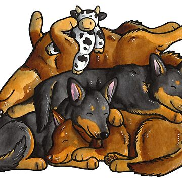 Sleeping pile of Lancashire Heeler dogs by animalartbyjess