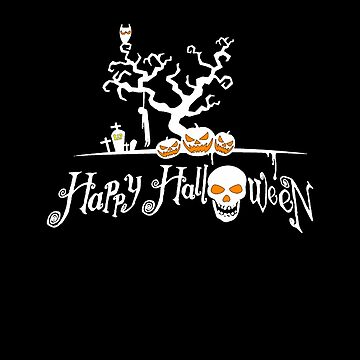 Happy Halloween Skull and Pumpkin T-shirt by Kiraly