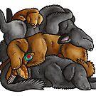 Sleeping pile of Flat-coated Retriever dogs by animalartbyjess