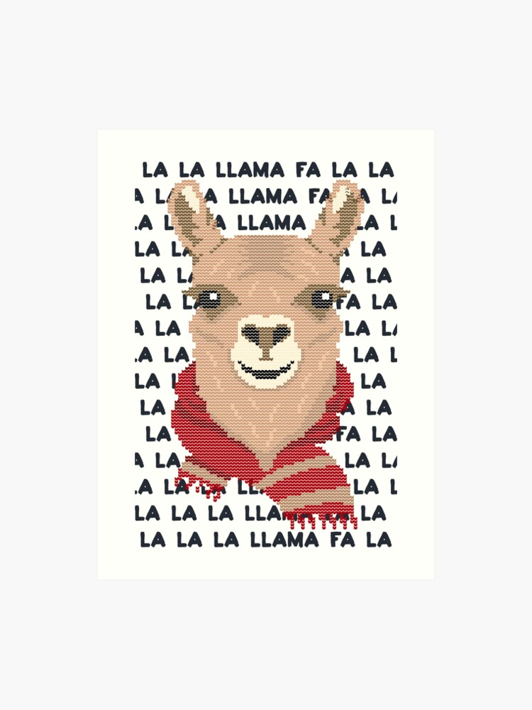 Llama Christmas.Fa La La La Llama Christmas Art Print