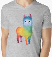 Regenbogen-Lama T-Shirt mit V-Ausschnitt