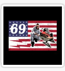 LARRY USA FLAG SNOWMOBILE ENTICER 69 Just Gonna Send It American Flag Sticker