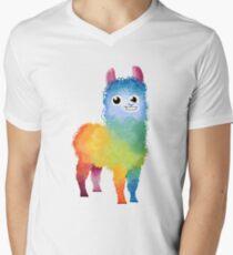 Regenbogen-Lama pink T-Shirt mit V-Ausschnitt