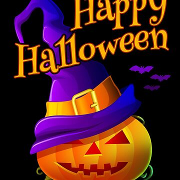 Violet Witch Hat Happy Halloween & Pumpkin  by aronia