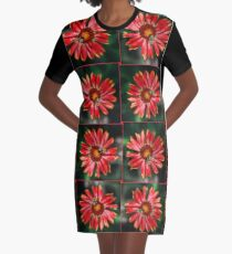 Bee on a red helenium Graphic T-Shirt Dress