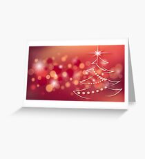 Fir tree on a red background Greeting Card