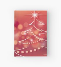 Fir tree on a red background Hardcover Journal