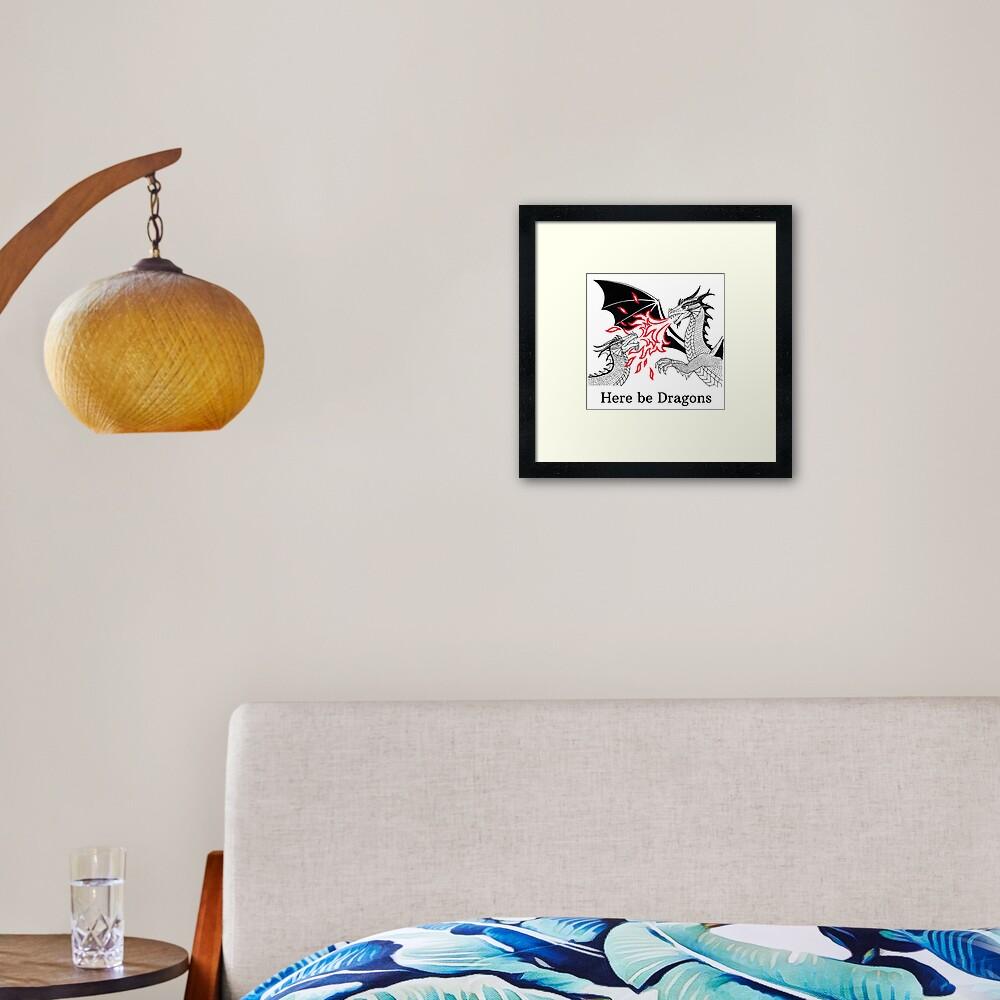 Dragons Fight Framed Art Print
