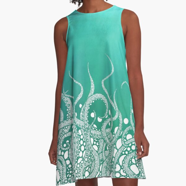 Turquoise Tentacles A-Line Dress