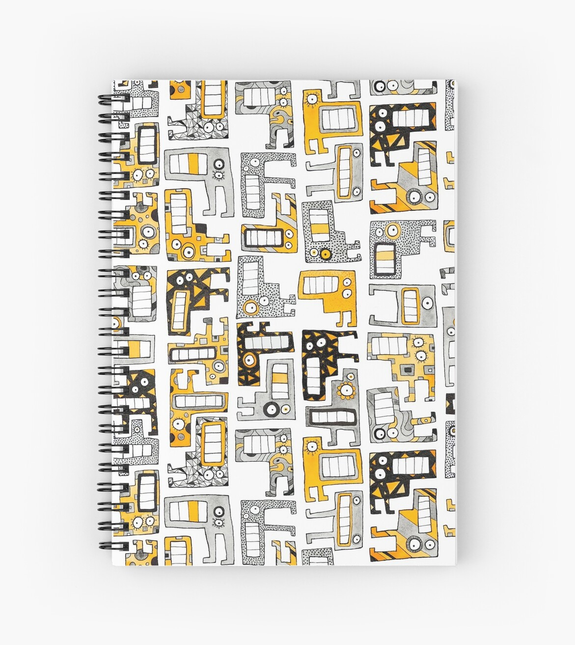 Tetris Monsters Yellow and Grey by PoofyEmporium