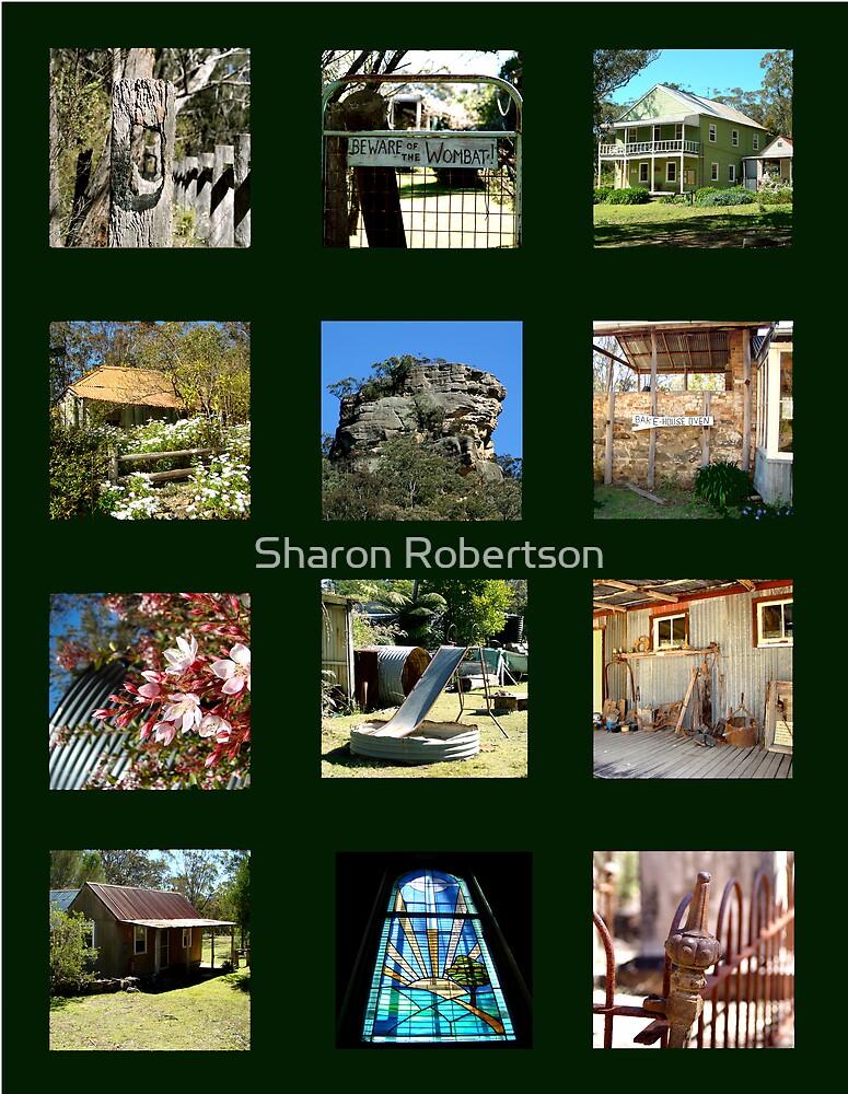 Yerranderie Collage Dark Green by Sharon Robertson