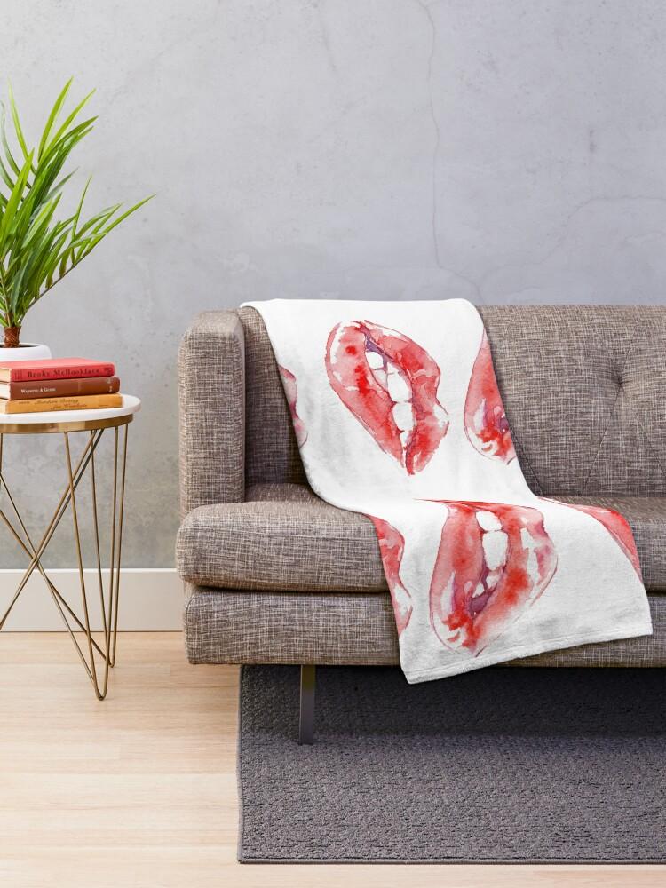 Alternate view of Biting Lips Throw Blanket