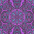Poppy Pods Abstract Floral Mandala Fuchsia Turquoise by clipsocallipso