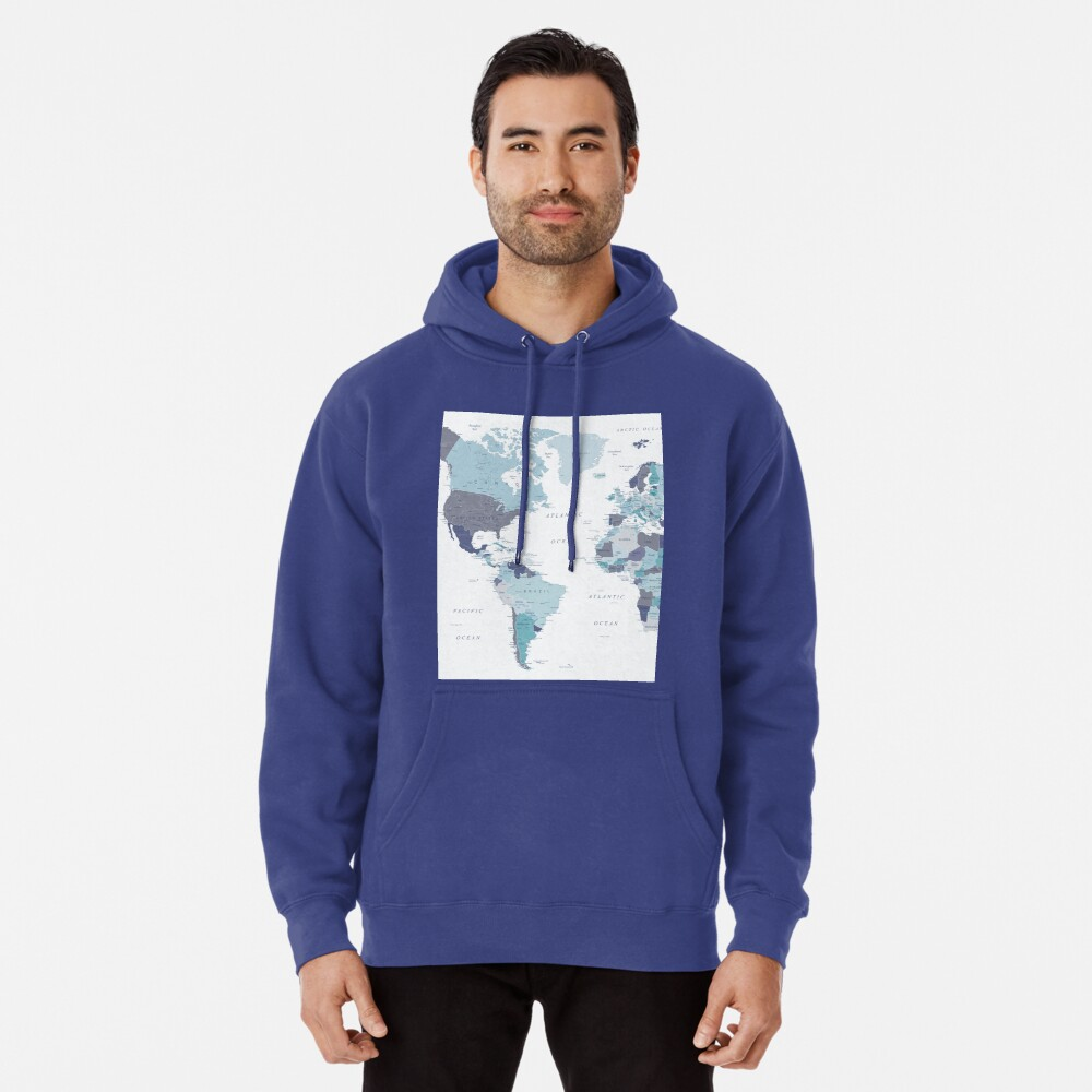 World Map in Blue Pullover Hoodie