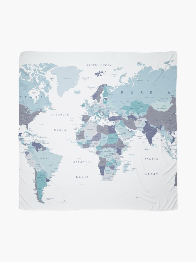 Alternate view of World Map in Blue Scarf