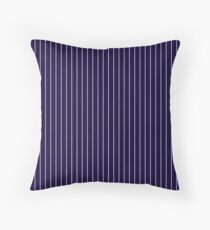 Navy with Light Blue Pinstripes Throw Pillow