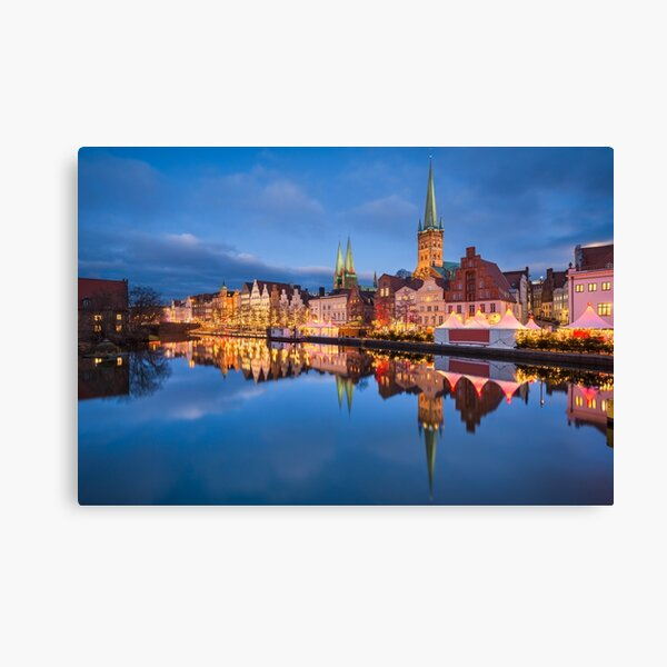 Christmas market in Lubeck Canvas Print