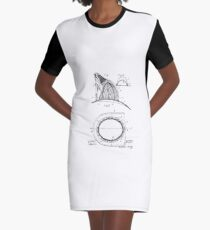 Fireman's Hat Vintage Patent Drawing Graphic T-Shirt Dress