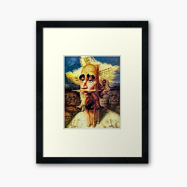 DON QUIXOTE : Vintage Abstract Dali Tilting at Windmills Print Framed Art Print