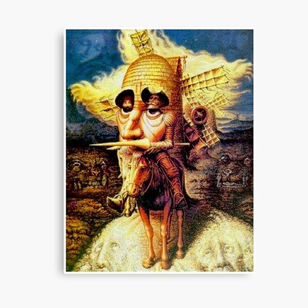 DON QUIJOTE: Dalí abstracto vintage inclinado en molinos de viento Imprimir Lienzo