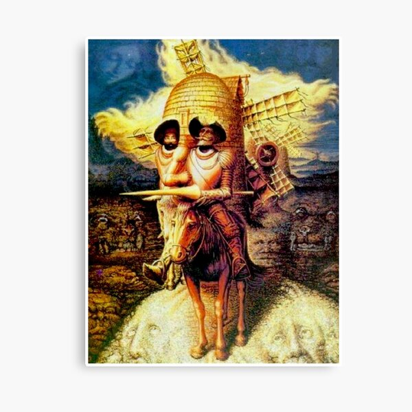 DON QUIXOTE : Vintage Abstract Dali Tilting at Windmills Print Canvas Print