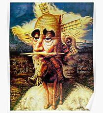 DON QUIXOTE: Weinlese-abstraktes Dali, das am Windmühlen-Druck kippt Poster