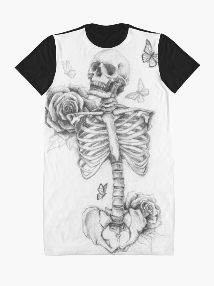 Alternate view of Skeleton and Roses Graphic T-Shirt Dress