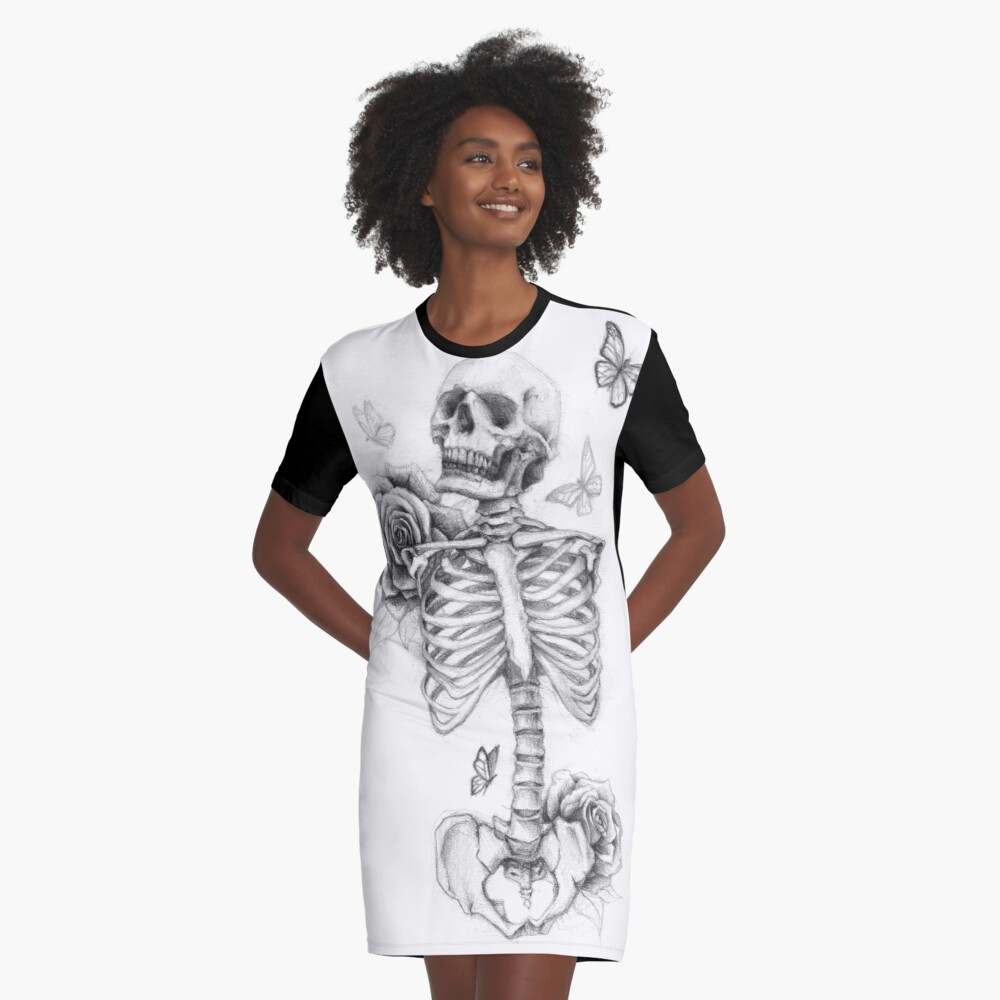 Skeleton and Roses Graphic T-Shirt Dress