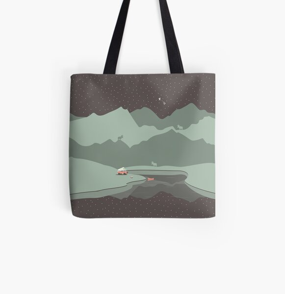 Into the Wild - Camping Scene All Over Print Tote Bag