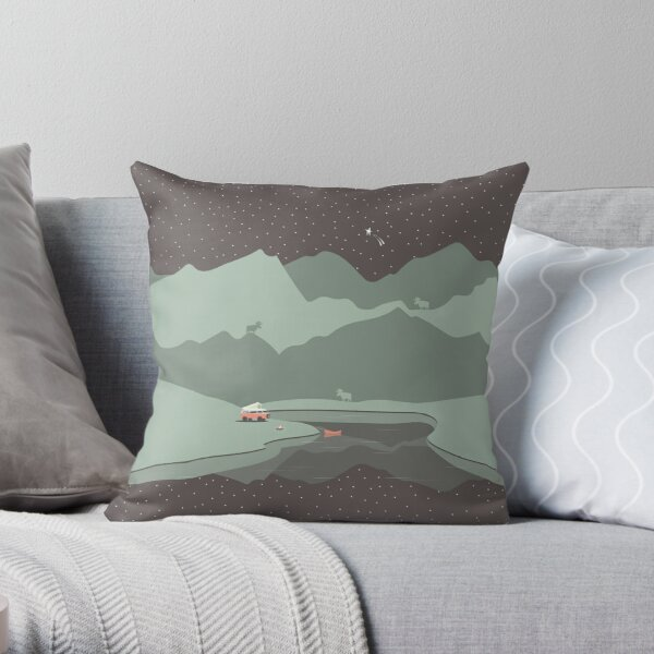 Into the Wild - Camping Scene Throw Pillow