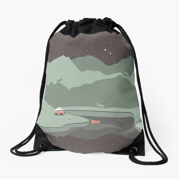 Into the Wild - Camping Scene Drawstring Bag