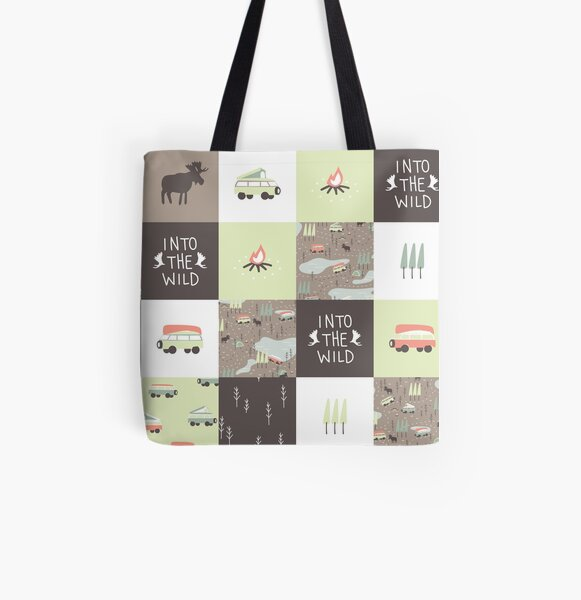 Into the Wild - Faux Quilt Pattern All Over Print Tote Bag