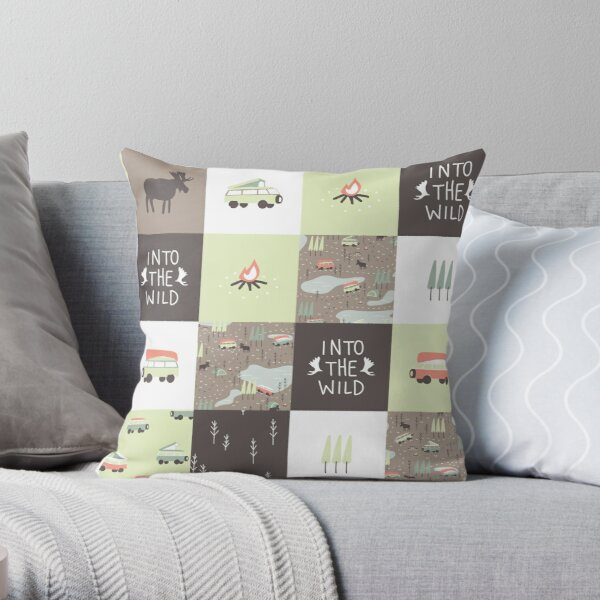 Into the Wild - Faux Quilt Pattern Throw Pillow