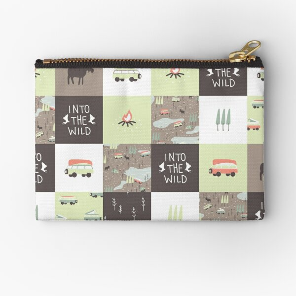 Into the Wild - Faux Quilt Pattern Zipper Pouch