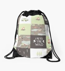 Into the Wild - Faux Quilt Pattern Drawstring Bag