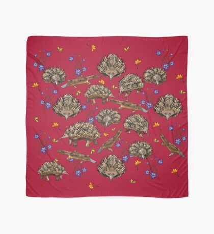 monotremes and wildflowers on cardinal Scarf