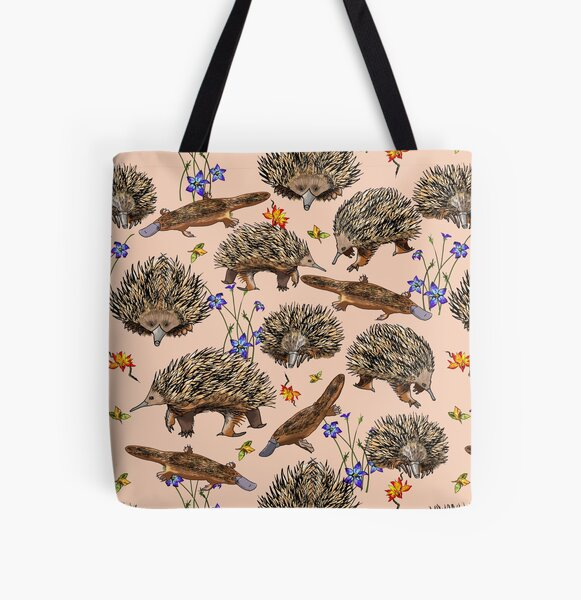 monotremes and wildflowers on apricot All Over Print Tote Bag