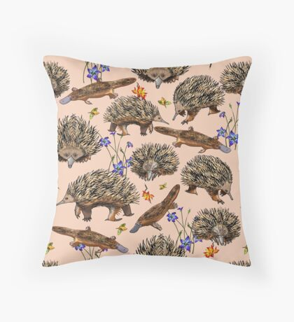 monotremes and wildflowers on apricot Throw Pillow