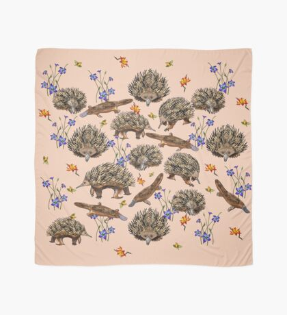 monotremes and wildflowers on apricot Scarf