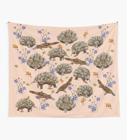 monotremes and wildflowers on apricot Wall Tapestry