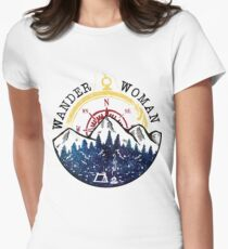 Camping Wander Woman Hiking Vintage Women's Fitted T-Shirt