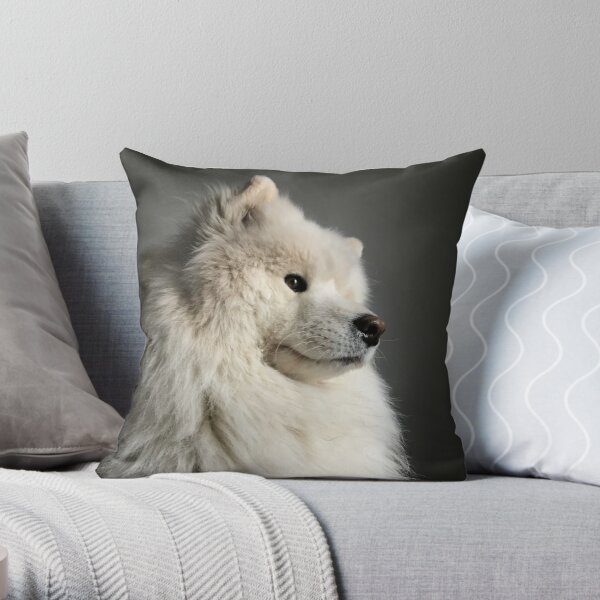 Samoyed doin a contemplate Throw Pillow