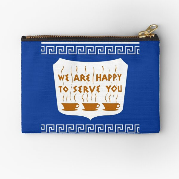NYC Greek Anthora Coffee Cup Design Zipper Pouch