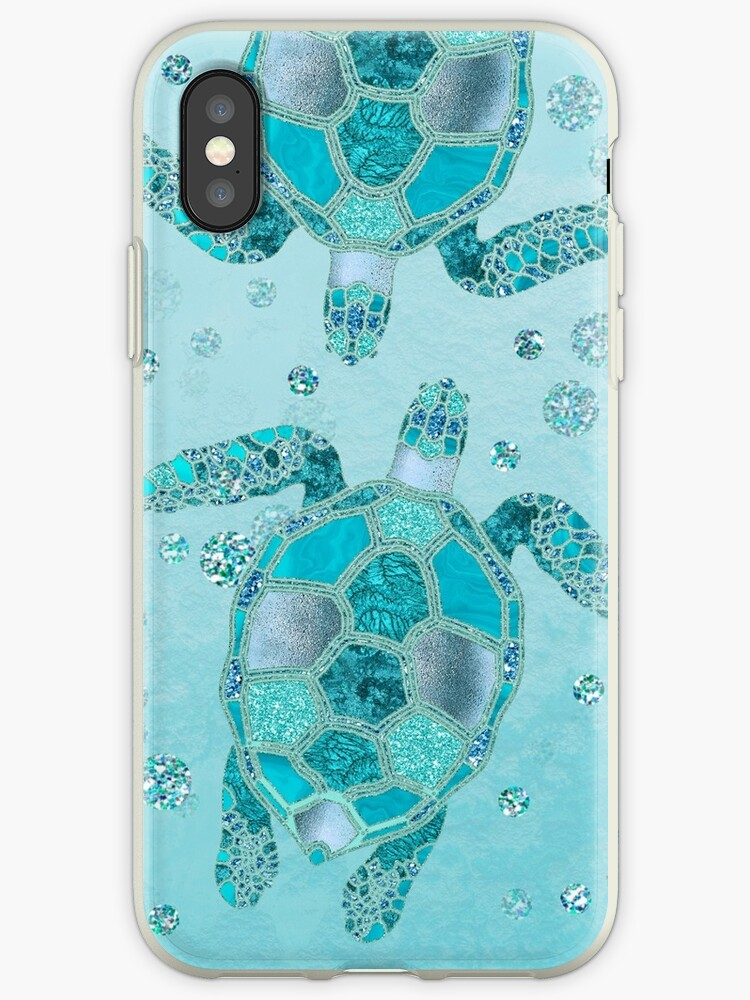 Glamour Aqua Turquoise Turtle Underwater Scenery by artsandsoul