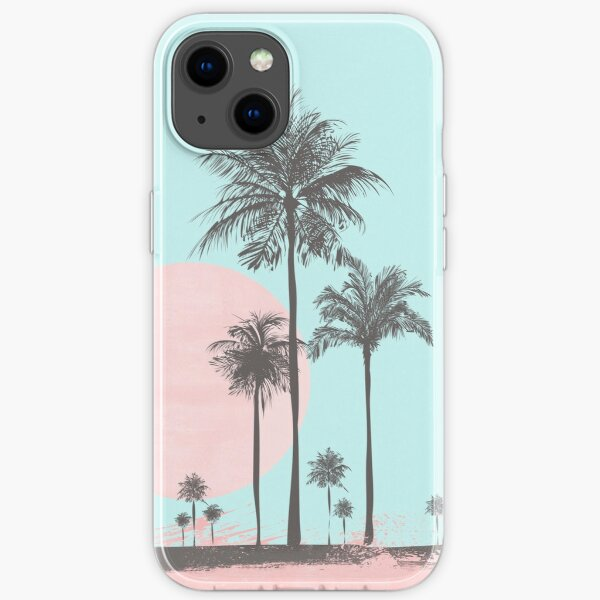 Pastel colors tropical beach palm tree sunset iPhone Soft Case