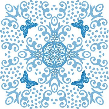 Blue 'n White Butterfly Medallion by 2HivelysArt