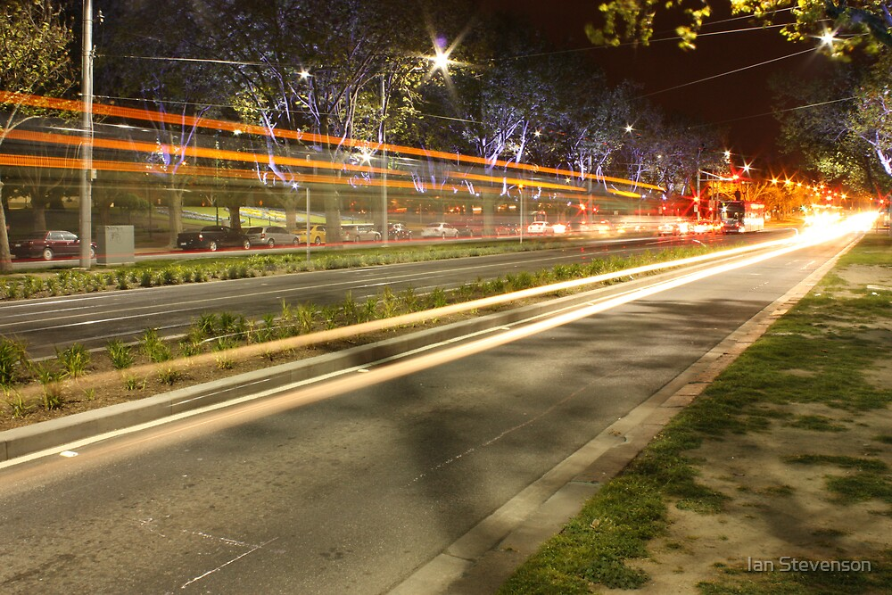 Night tram, St Kilda Rd by Ian Stevenson
