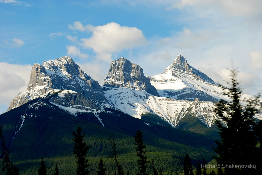 Rockies'  Three Sisters by Richard Shakenovsky