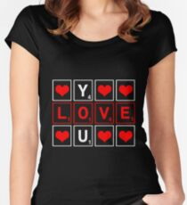 d3632c5bdf94e2 I Love You Scrabble Word Game Gift Women s Fitted Scoop T-Shirt